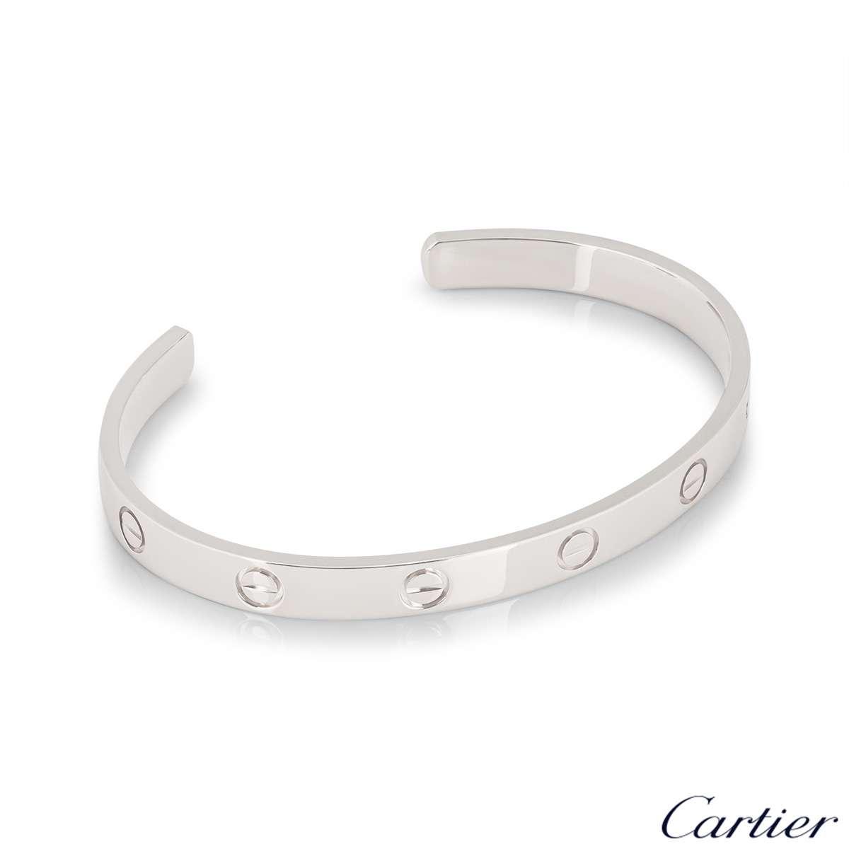 Cartier White Gold Plain Love Cuff Bracelet Size 19 B6032519